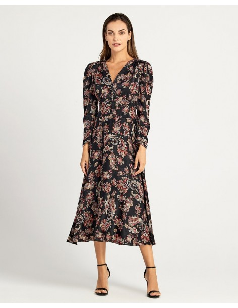 FOREL Φόρεμα εμπριμέ με λοξή φούστα 073.50.01.018