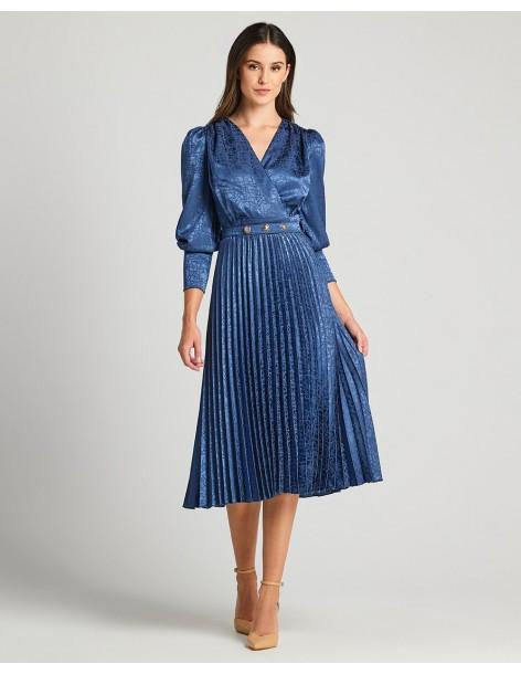 FOREL Φόρεμα κρουαζέ με πλισέ φούστα και ζώνη 073.50.01.013